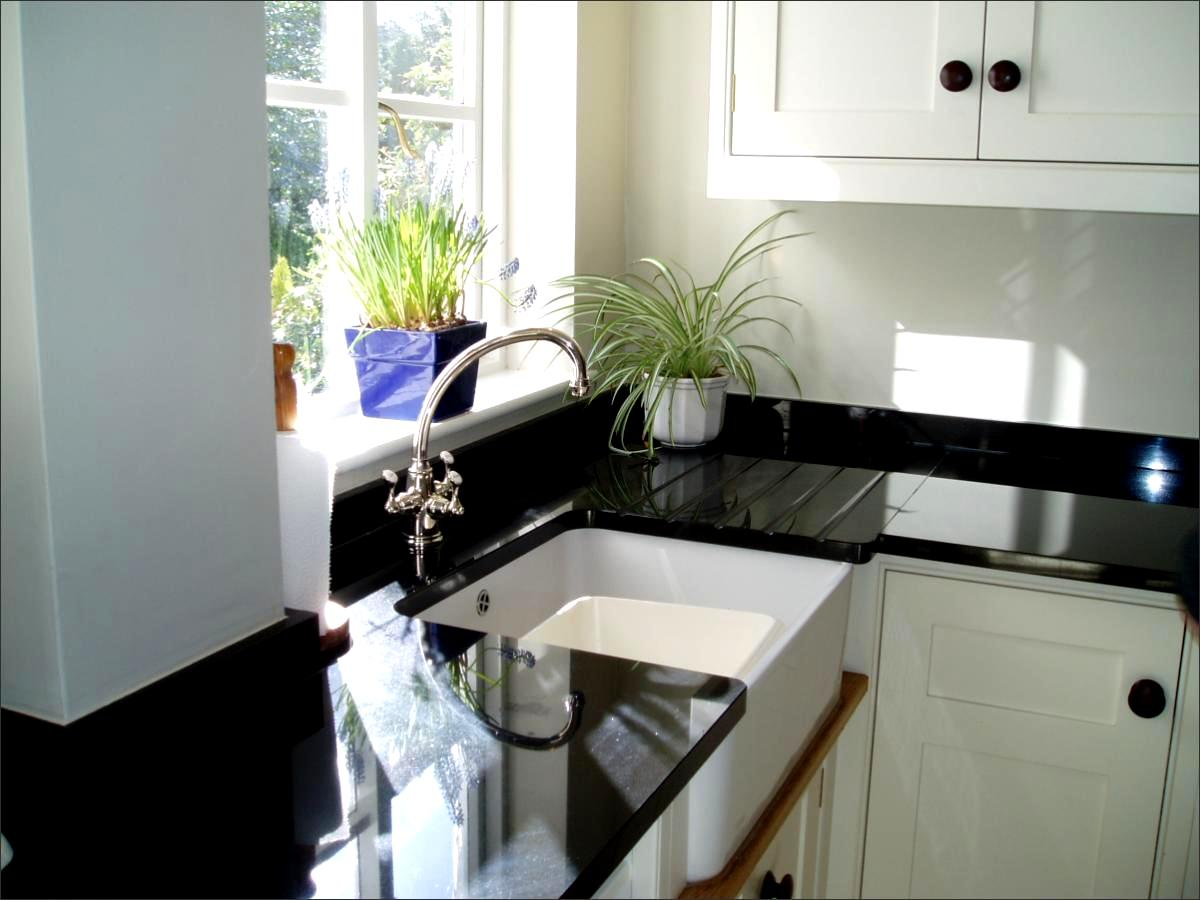 Image Of Absolute Black Granite Worktop With Grooved Drainer