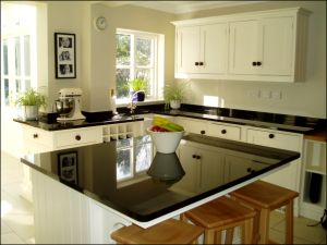 Image Of Absolute Black Granite Worktops, Island And Splashbacks